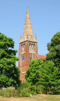 Lyndhurst Church from grounds of Queens House